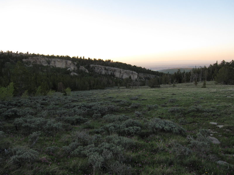 The backside of the Iris around sunset. Aspen Glade Wall on the left and Gun Street on the right.