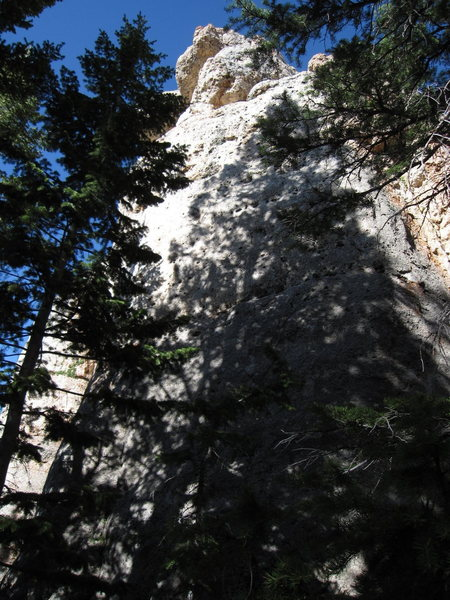 The light in this photo is pretty bad, but the photo should help you find the climb. Big Medicine climbs the right side of this formation starting in grey, slabby rock. Pale Face Magic is on this same formation, but around the corner to the left.