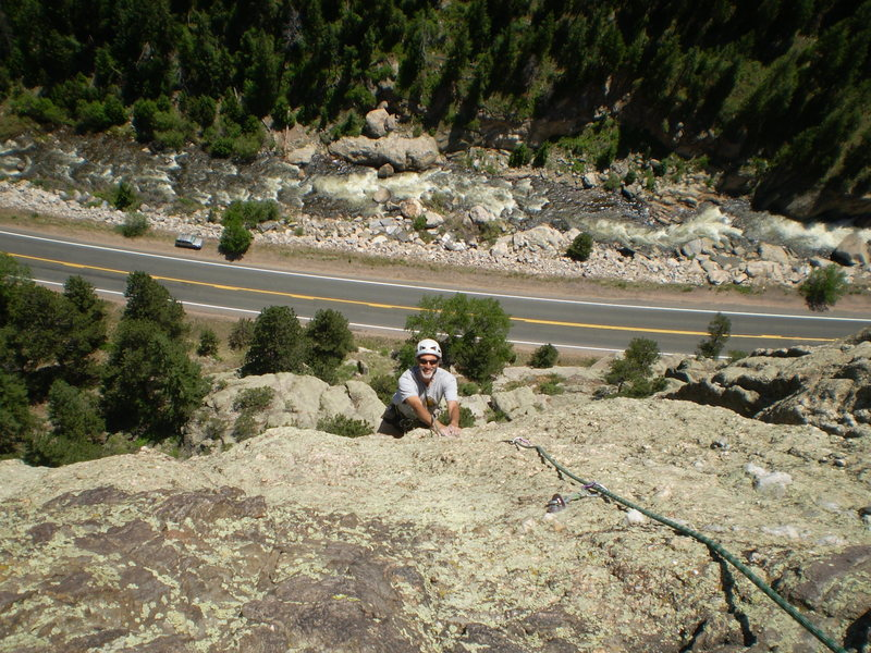 Rock Climbing Photo: Doug on P3 (4th pitch from the ground) when the ro...