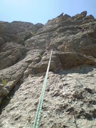 Rock Climbing Photo: A view while rapping of the P2 belay (3rd pitch fr...