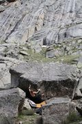 Rock Climbing Photo: Mike Gallagher on French Kiss.  This is what the b...