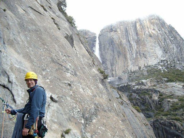 Tim with upper Yosemite Falls
