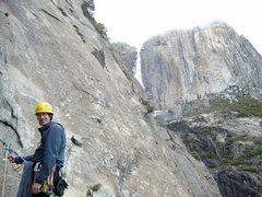 Rock Climbing Photo: Tim with upper Yosemite Falls