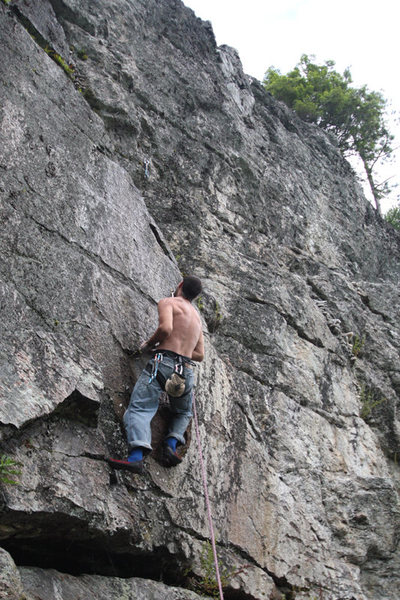 Rock Climbing Photo: Jakob underclinging the lid of the lidless eye...