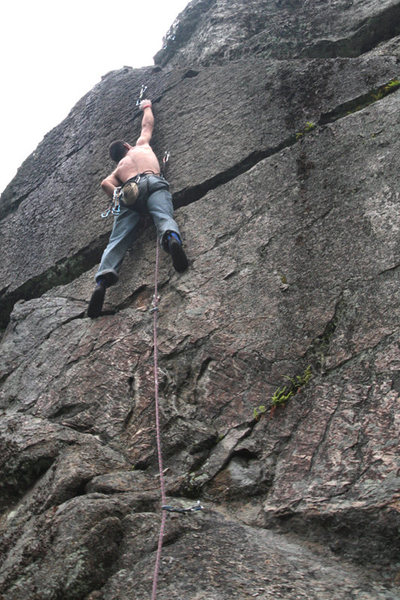 This is the coolest move of the coolest route at the crag...