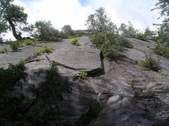 Rock Climbing Photo: The start of Big Tree One (zig zag crack left of t...