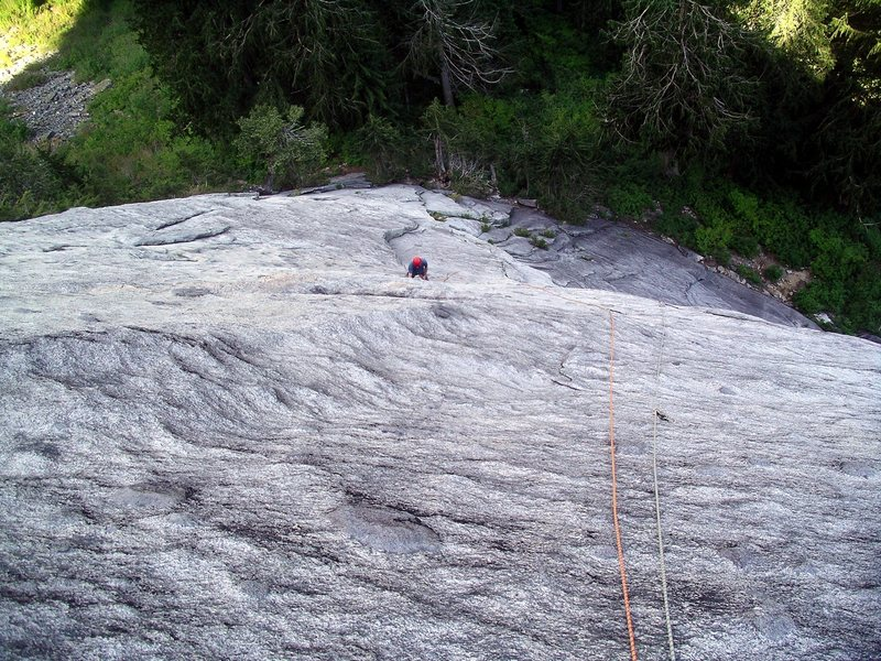 Climbing the third pitch of The Kone