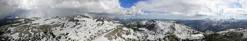 View south toward Matthes Crest from the summit Cathedral Peak. 6-21-10