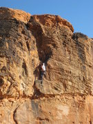 Rock Climbing Photo: The top section is overhanging but with big holds.
