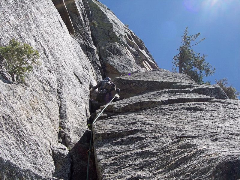 Rock Climbing Photo: Looking up the first pitch of the Trough.