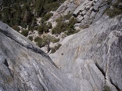 Rock Climbing Photo: Looking down the first pitch of the Trough