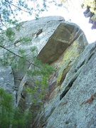 Rock Climbing Photo: Climb to the corner in the roof, clip a fixed nut,...