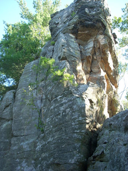"""""""Climb with a View"""" goes up the cracks on the left face."""
