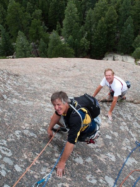 Chuck Grossman and I following one of the routes. John Catto photo.