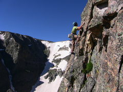Rock Climbing Photo: Tobin leading off on first pitch of the South Ridg...