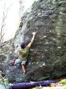 Rock Climbing Photo: Travis H on the Plasma Arete (v4) on the Rock Hous...