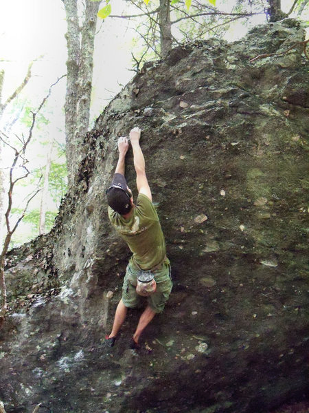 Travis H on the Plasma Arete (v4) Rock House Ridge Trail (RHRT), Rock House Area, GHSP.<br> <br>