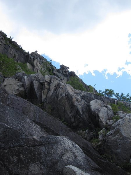 Second pitch began up the white stacked granite.