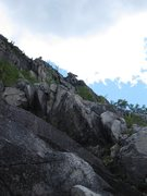 Rock Climbing Photo: Second pitch began up the white stacked granite.