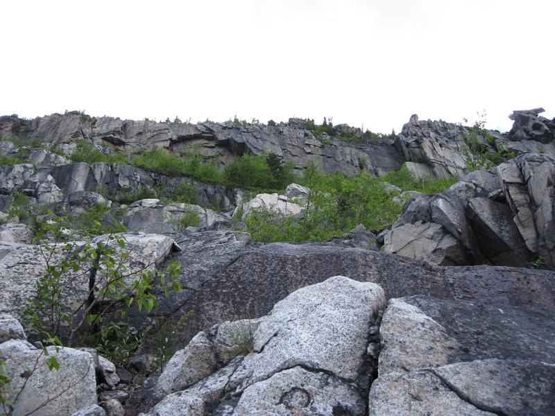 The rest of the second pitch went onto the slabs and later up the first steep wall with the central crack, right of the tree center right side on the gray rock left of the large white rock. Moved up right above large white rock in the talus and trees to belay on a rock horn (5.6). <br> The large ceiling on the upper right side, we have named 'King Henry' and the white left facing wall is the 'Red Queen's' undone finish.