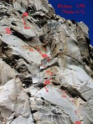 Rock Climbing Photo: Blidspot topo for pitches 4-7