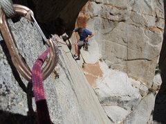 Rock Climbing Photo: Rick Zieglar following cleaning the 6th pitch