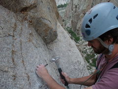 Rock Climbing Photo: When your drill runs out of batteries, sometimes y...