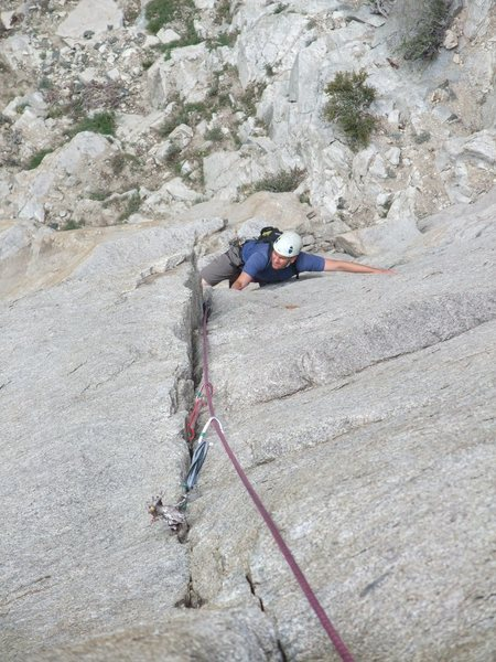 mid crux on second pitch (.11a) Rick Z. gets after it
