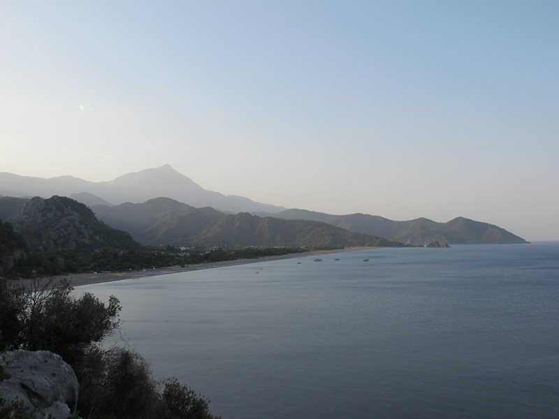 View of the beach at Olympos from the trail to Cennet.