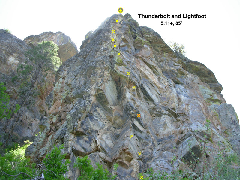 Thunderbolt and Lightfoot<br> 5.11+    85ft   11b+ch<br> (this is an odd-perspective, but accuratly shows bolt placements)