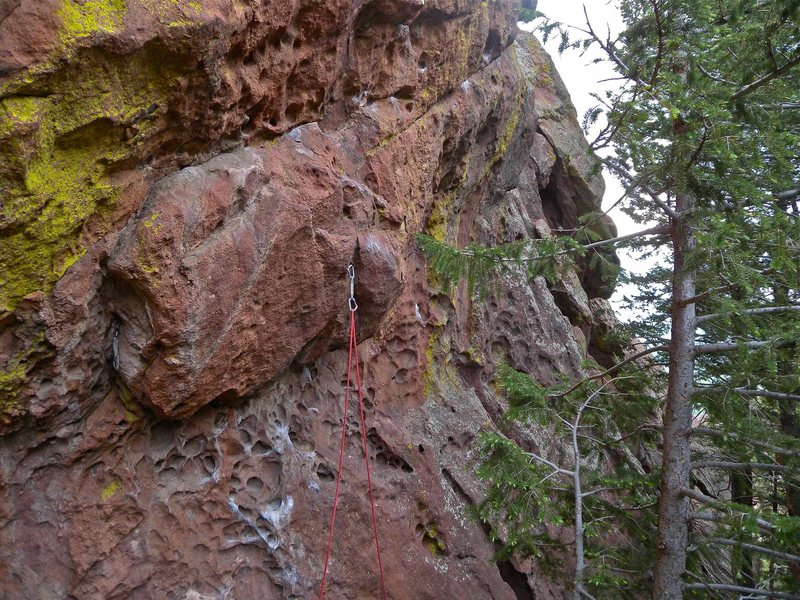 Rock Climbing Photo: Lackin' Slacks with the first piece of gear in the...