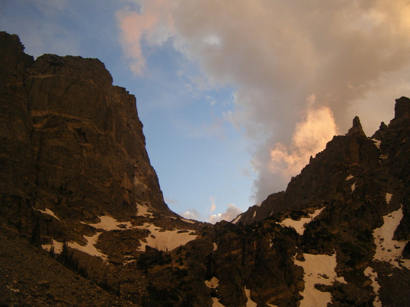 Hallett Peak at sunset in June.