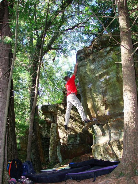"Rock Climbing Photo: Matt sticking Real Cool Hand.  ""Shakin it Bos..."