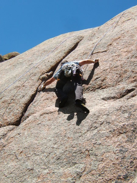 Rock Climbing Photo: Passing the crux to reach the crack.