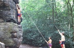 Rock Climbing Photo: Dave moving right to the arete on the Isolated But...