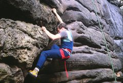 Rock Climbing Photo: Moving through the crux moves on the right variati...