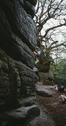 Rock Climbing Photo: Moving up the starting moves of Birchden Corner