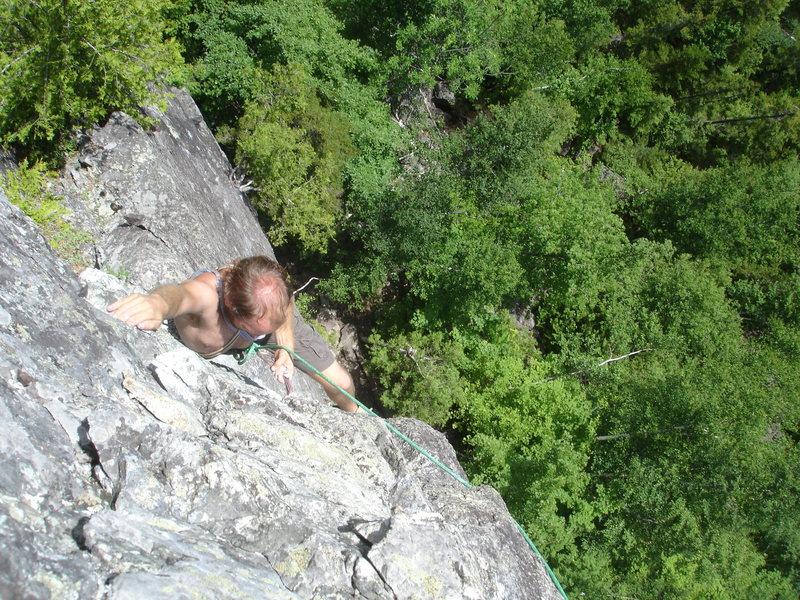 Rock Climbing Photo: Paul demonstrating the crux beta for the upper cru...