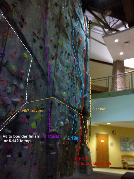 """Right Side & Center. Routes marked are built into the wall and are on permanent """"real rock"""" features."""