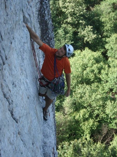 Rock Climbing Photo: Admiring his gear placements  after the crux of Th...