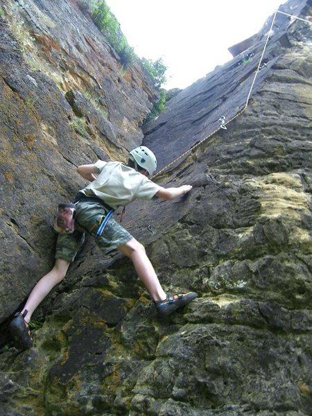 Gavin working the bouldery start.