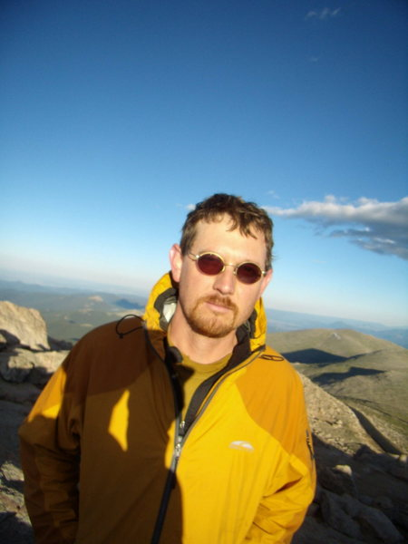 Looking for my Village People party bus on the summit of Mt. Evans. Photo by Jordon.  July 2010.