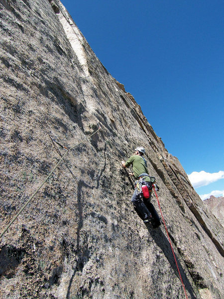Jeff G. is in the tricky section after the 2nd bolt on the crux pitch.