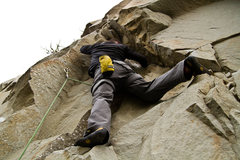 Rock Climbing Photo: James pulling small roof crux on Holy Crap.