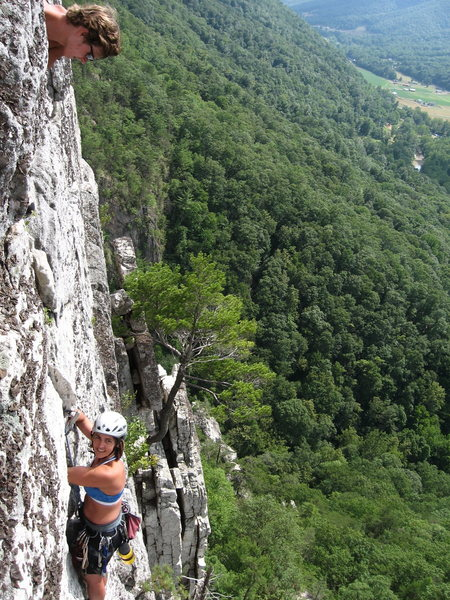 Rock Climbing Photo: Tanya Chupa removing the final peace of pro on Cri...
