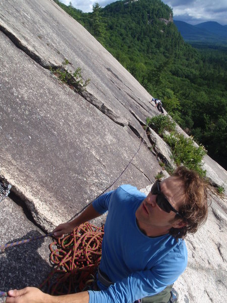 Rock Climbing Photo: Bernardo belaying at the two bolts at the very bot...