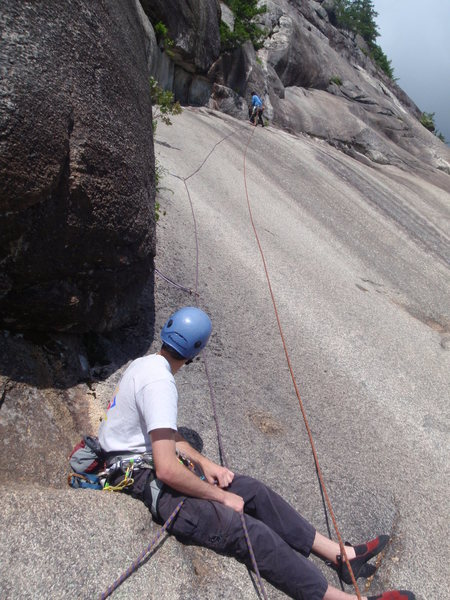 Rock Climbing Photo: Bernardo heading from the thread-belay to the lunc...