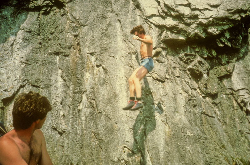 """Early attempts on the first ascent of """"Safer Deck"""", Attermire Scar."""