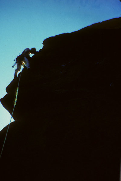 Rock Climbing Photo: On the arete- nothing but big holds left.  Chequer...