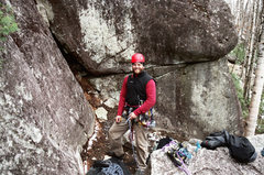 Rock Climbing Photo: Racking up at the base of Fractured Fairytale, Mys...